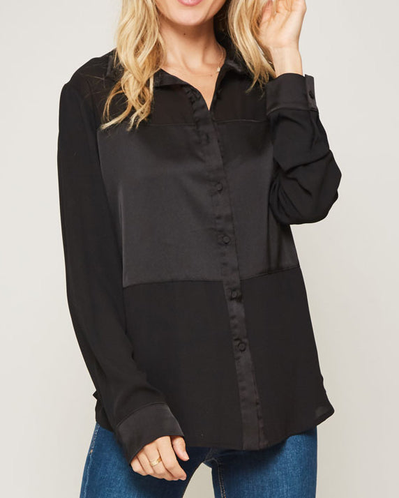 Black Contrast Button Down Collar Top Savvy Chic Boutique Cleveland Ohio