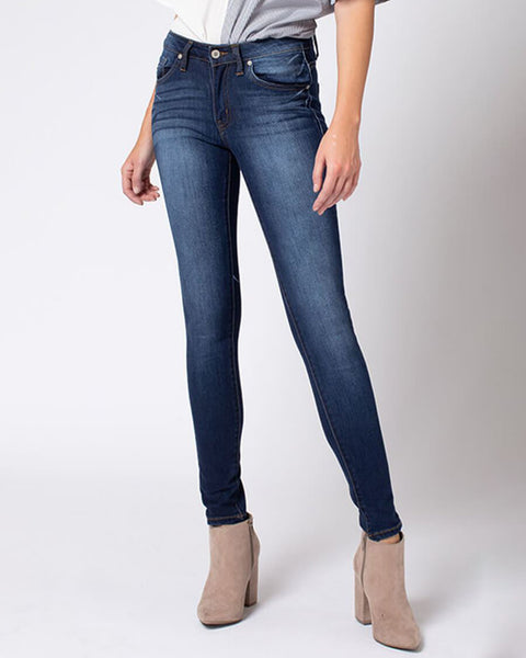 Kancan Faded Dark Wash Mid Rise Skinny Jean