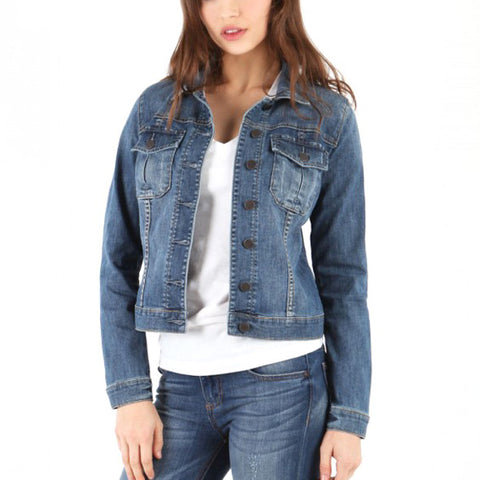 Amelia Serpa Wash Denim Jean Button Down Jacket Kut from the Kloth