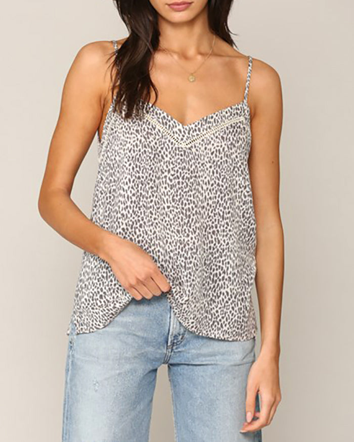 Grey Ivory Leopard Animal Print Lace Camisole Top