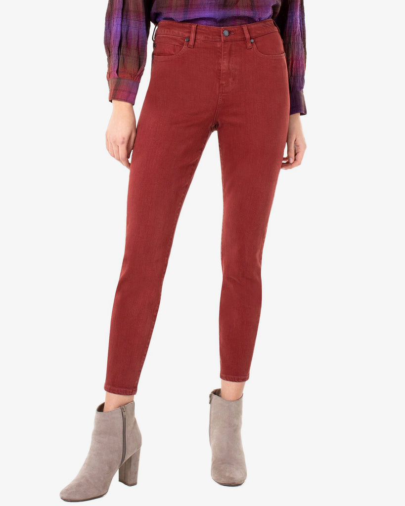 Liverpool Abby High Rise Ankle Skinny Cherrywood Jeans Denim Cropped Red Rust Color Savvy Chic Boutique Cleveland Ohio