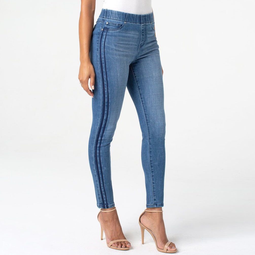 Liverpool Pull On Chloe Ankle Skinny Montecito Vintage Double Stripe Denim Jeans Savvy Chic Boutique Cleveland Ohio