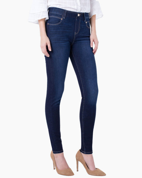 Liverpool Gia Glider Pull-On Skinny Payette Blue Stretch Denim Jean Savvy Chic Boutique Cleveland Ohio