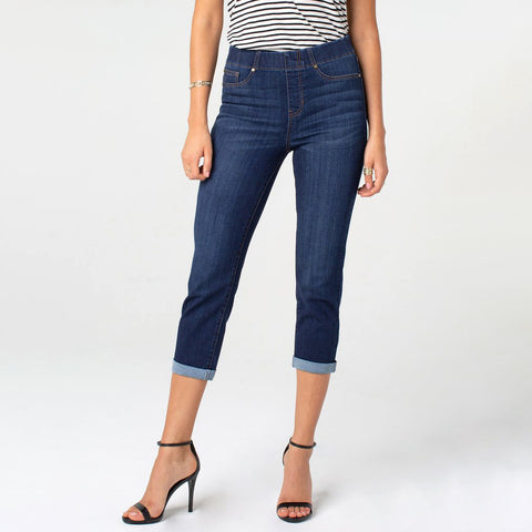 Liverpool Chloe Crop Rolled Cuff Jeans Valerie Wash Denim Savvy Chic Boutique Cleveland Ohio