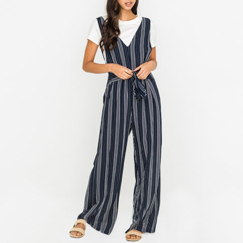 Lush Navy Blue White Stripe Jumpsuit Savvy Chic Boutique Cleveland Ohio