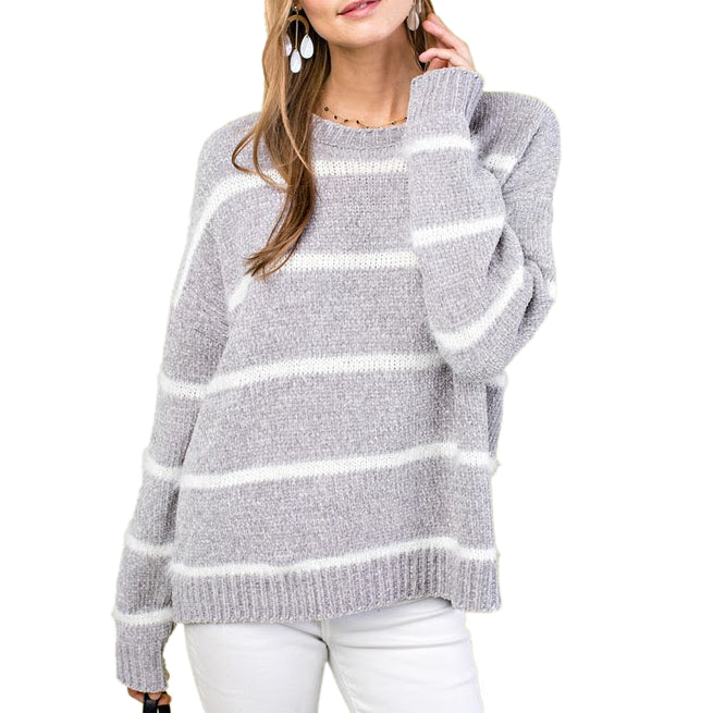 Main Strip Grey White Stripe Chenille Mohair Knit Pullover Sweater Savvy Chic Boutique Cleveland Ohio