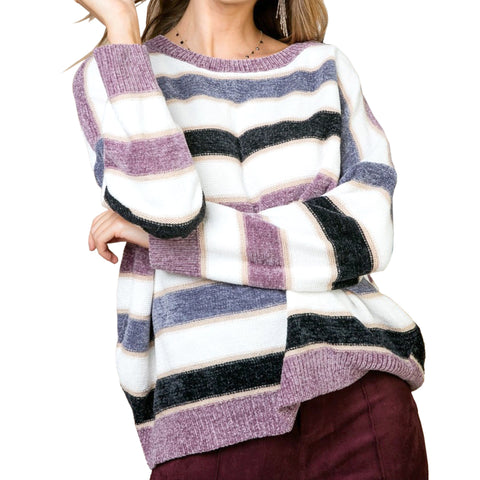 Main Strip Stripe Purple Blue White Lavender Chenille Knit Sweater Savvy Chic Boutique Cleveland Ohio