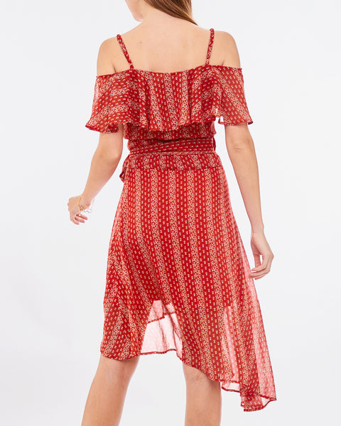 Red Print Off the Shoulder Ruffle Wrap Dress