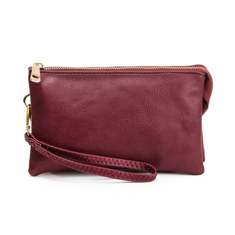 Jen & Co Wine Burgundy Vegan Faux Leather Wristlet Crossbody Handbag Savvy Chic Boutique Cleveland Ohio