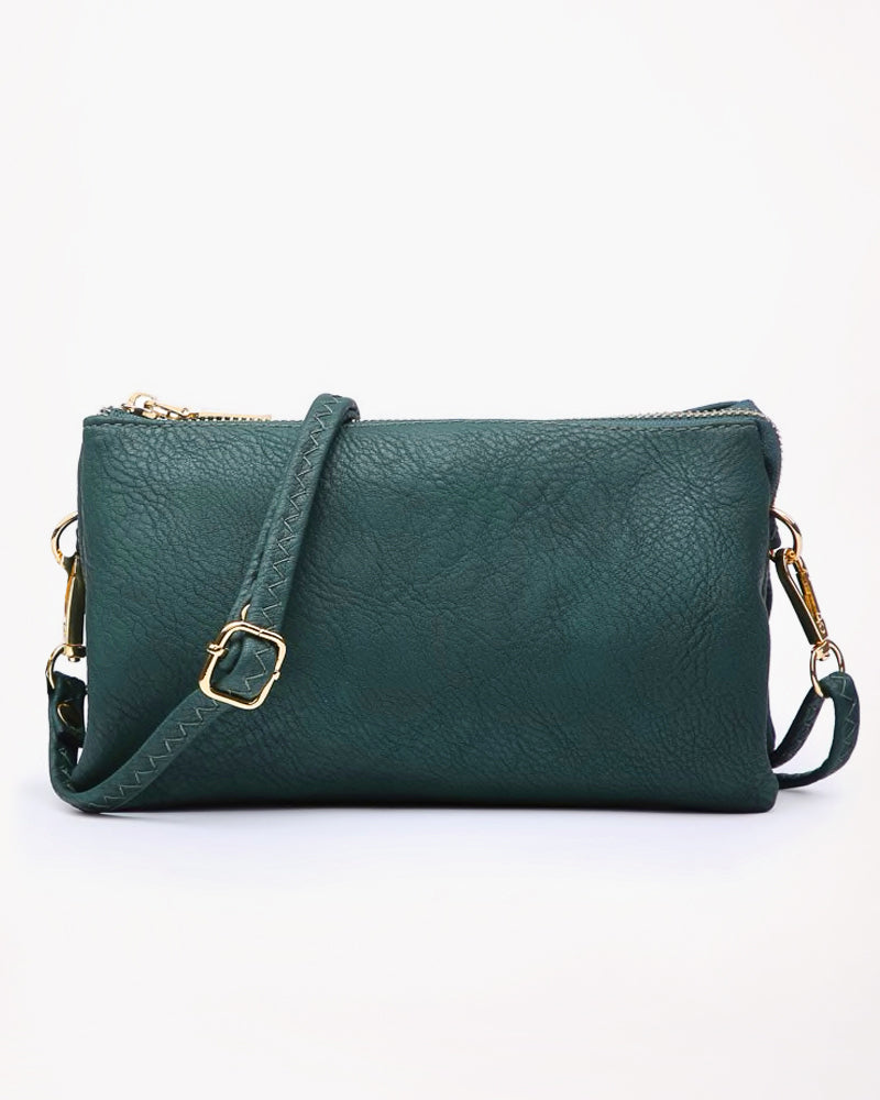 Jen & Co Hunter Green Turquoise 3 Compartment Wristlet Crossbody Wristlet Faux Leather Savvy Chic Boutique Cleveland Ohio