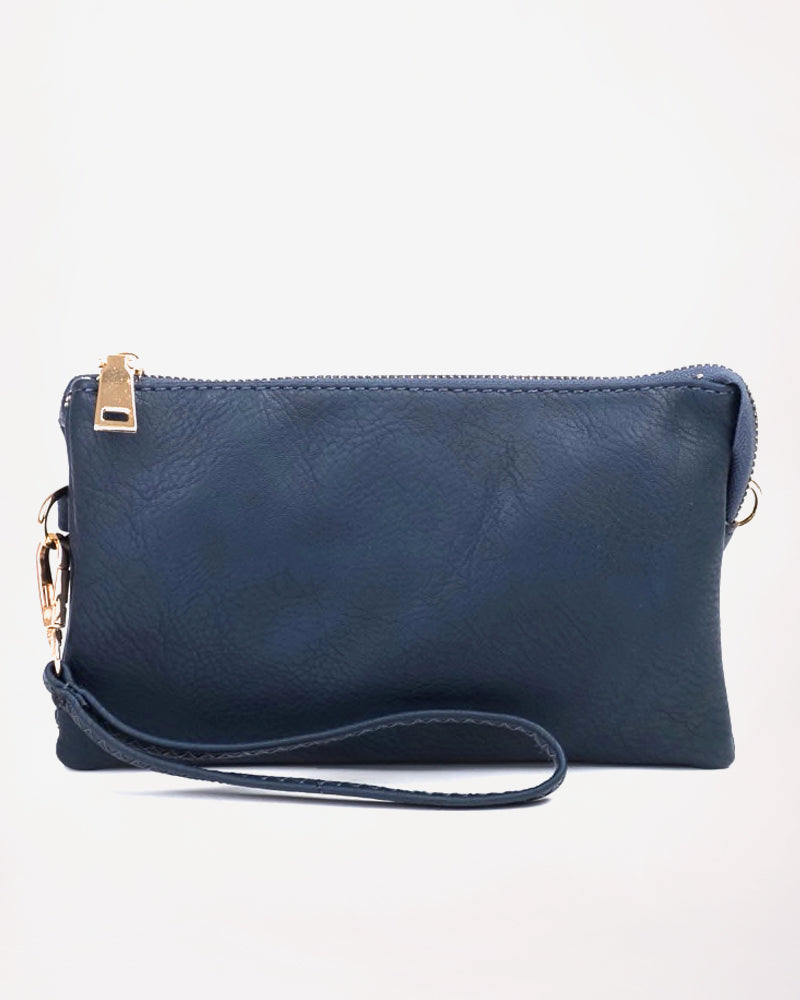 Jen & Co Navy Blue Vegan Faux Leather Wristlet Crossbody Handbag Savvy Chic Boutique Cleveland Ohio