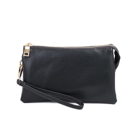 Jen & Co Black Vegan Faux Leather Crossbody Wristlet Bag Purse Savvy Chic Boutique Cleveland Ohio