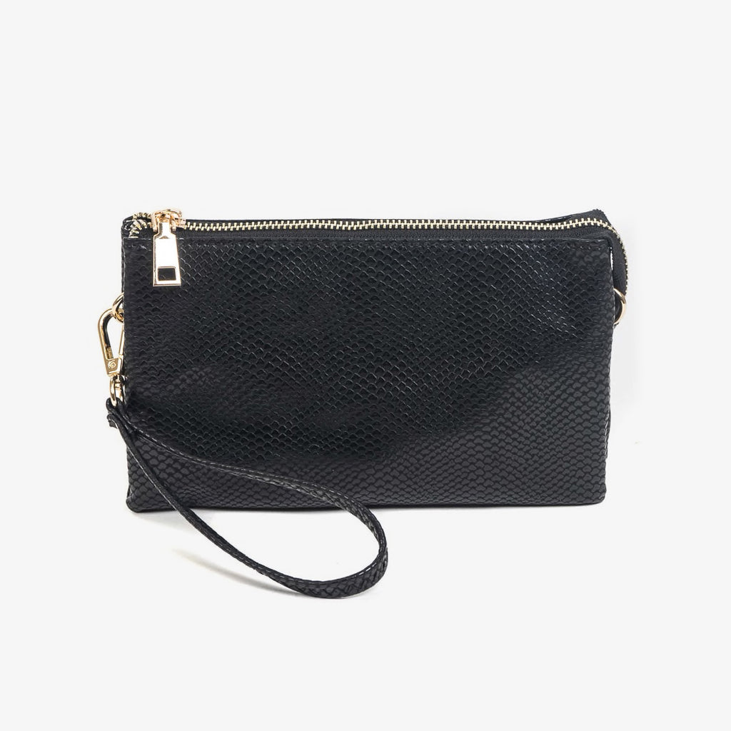 Jen & Co Black Snake Vegan Faux Leather Crossbody Wristlet Bag Purse Savvy Chic Boutique Cleveland Ohio