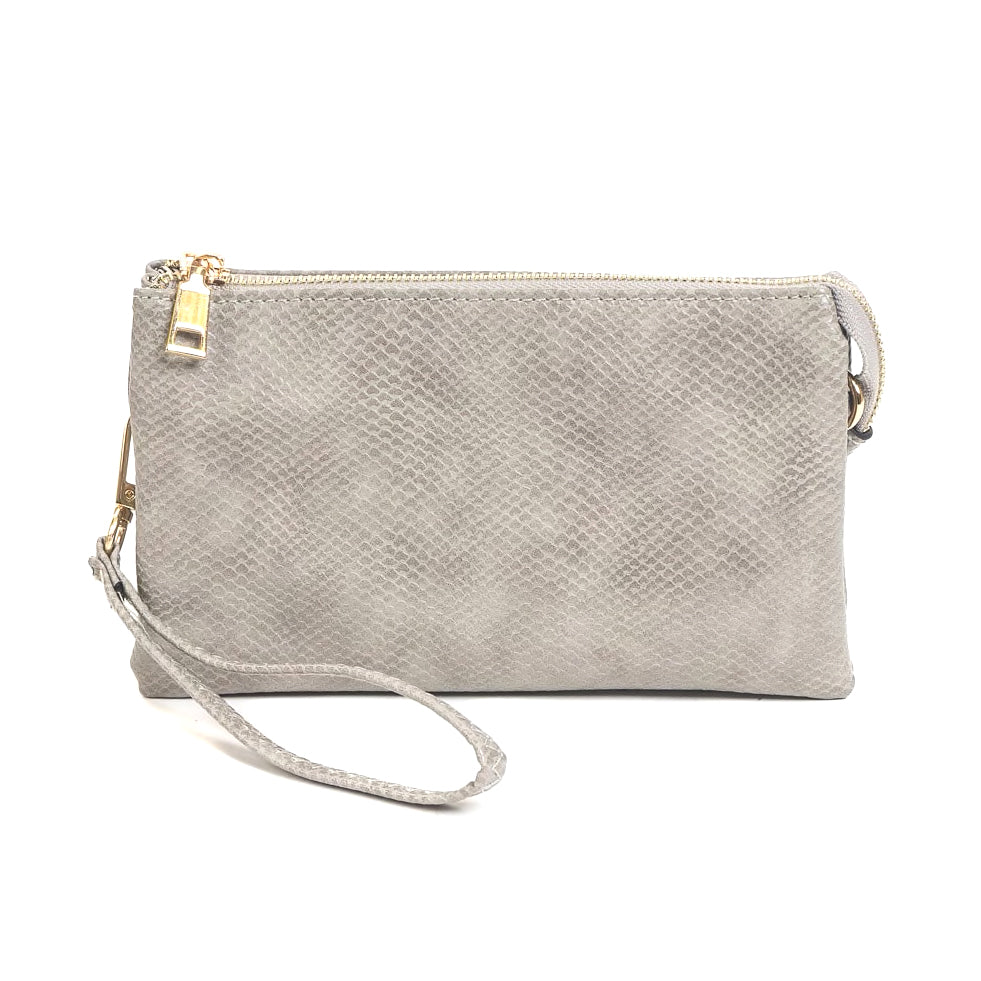 Jen & Co Snake Grey Vegan Faux Leather Crossbody Wristlet Purse Handbag Savvy Chic Boutique Cleveland Ohio