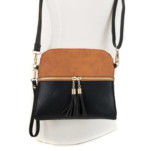 Jen & Co Black Brown Vegan Faux-Leather Crossbody Handbag Savvy Chic Boutique Cleveland Ohio
