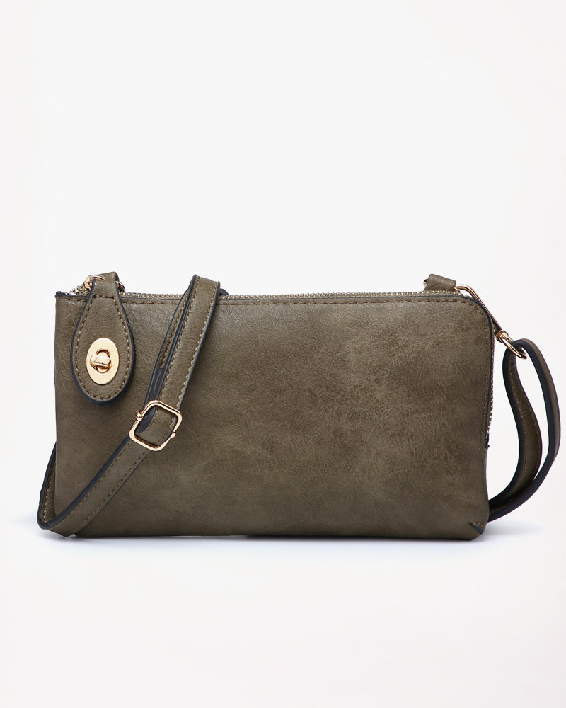 Jen & Co Olive Green Turn Lock Vegan Faux Leather Crossbody Wristlet Purse Savvy Chic Boutique Cleveland Ohio
