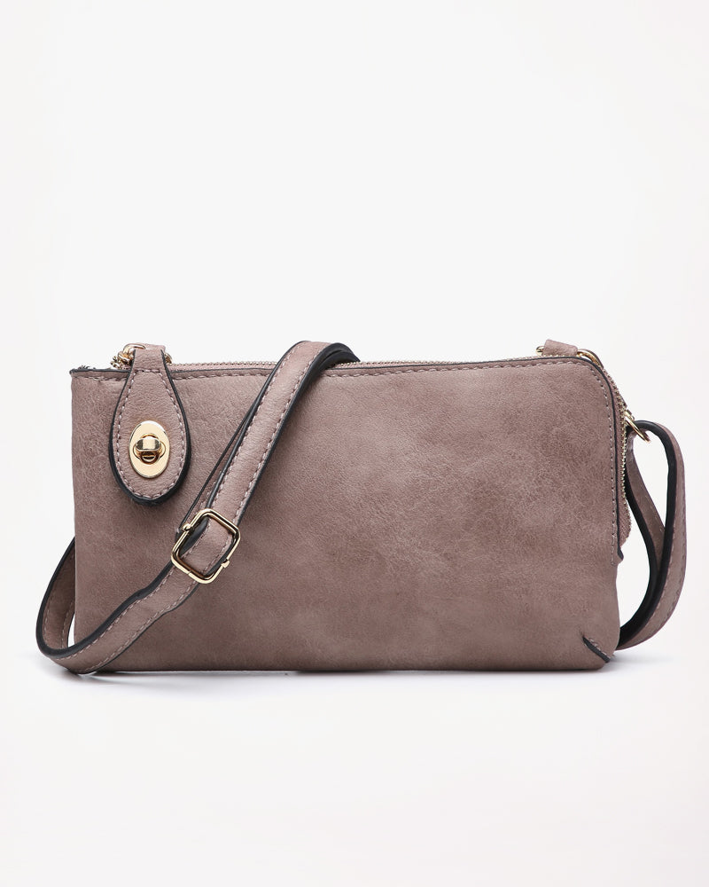 Jen & Co Warm Taupe Turn Lock Vegan Faux Leather Crossbody Wristlet Purse Savvy Chic Boutique Cleveland Ohio
