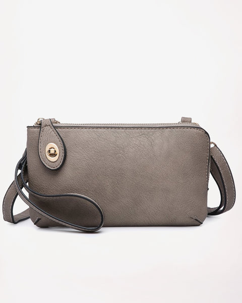 Jen & Co Grey Khaki Vegan Faux Leather Crossbody Wristlet Purse Savvy Chic Boutique Cleveland Ohio