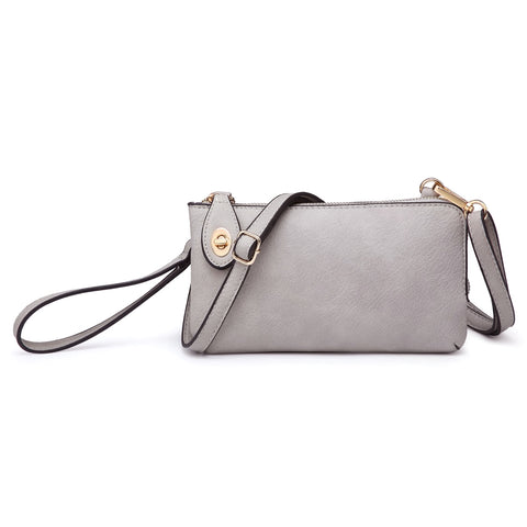 Jen & Co Light Grey Vegan Faux Leather Crossbody Wristlet Purse Savvy Chic Boutique Cleveland Ohio
