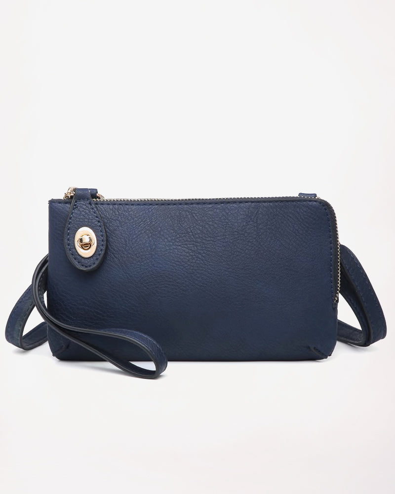 Jen & Co Navy Blue Vegan Faux Leather Crossbody Wristlet Purse Savvy Chic Boutique Cleveland Ohio