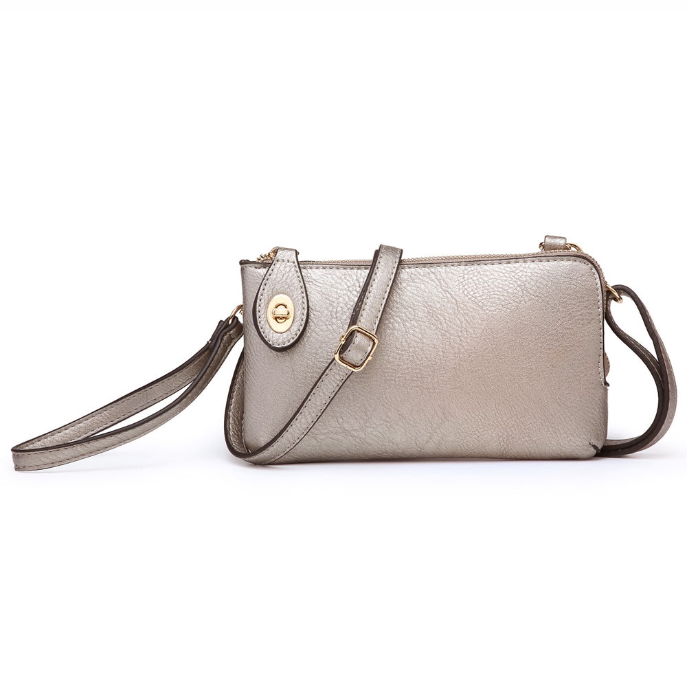 Jen & Co Pewter Metallic Vegan Faux Leather Crossbody Wristlet Purse Savvy Chic Boutique Cleveland Ohio