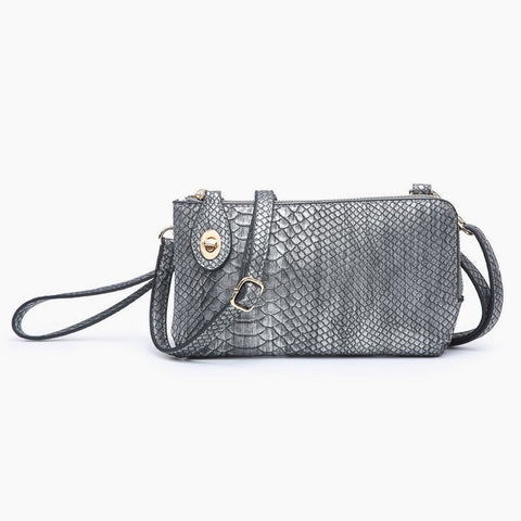 Jen & Co Snake Pewter Vegan Faux Leather Turn Lock Crossbody Wristlet Purse Handbag Savvy Chic Boutique Cleveland Ohio