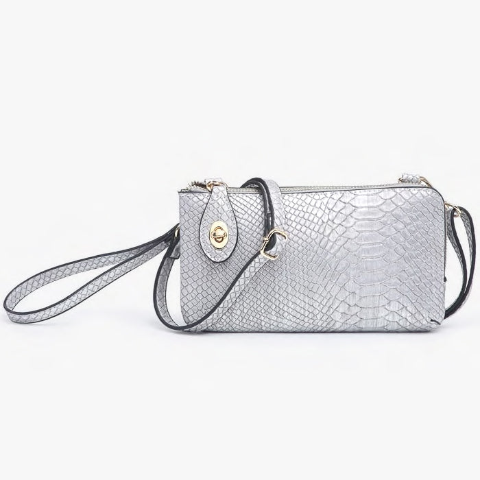 Jen & Co Snake Silver Vegan Faux Leather Turn Lock Crossbody Wristlet Purse Handbag Savvy Chic Boutique Cleveland Ohio