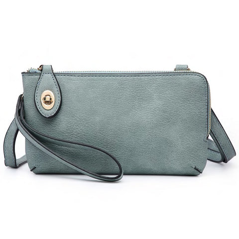 Jen & Co Teal Sage Green Faux Leather Turn Lock Crossbody Wristlet Handbag Purse Savvy Chic Boutique Cleveland Ohio