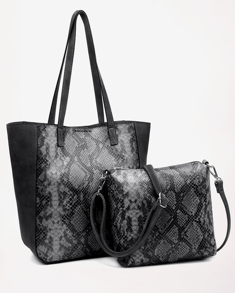 Jen & Co Black Grey Gunmetal Python Snake Print Snakeskin Faux Leather Tote Crossbody Handbag Purse Savvy Chic Boutique Cleveland Ohio