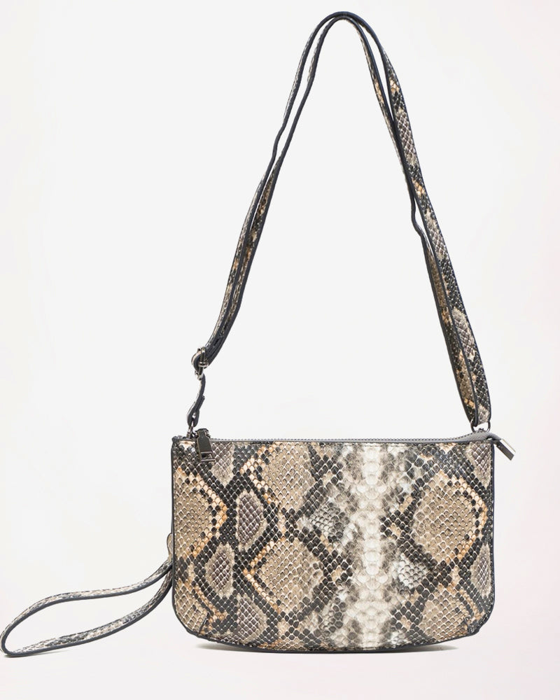Jen & Co Khaki Beige Python Snakeskin Crossbody Purse Handbag Wristlet Savvy Chic Boutique Cleveland Ohio