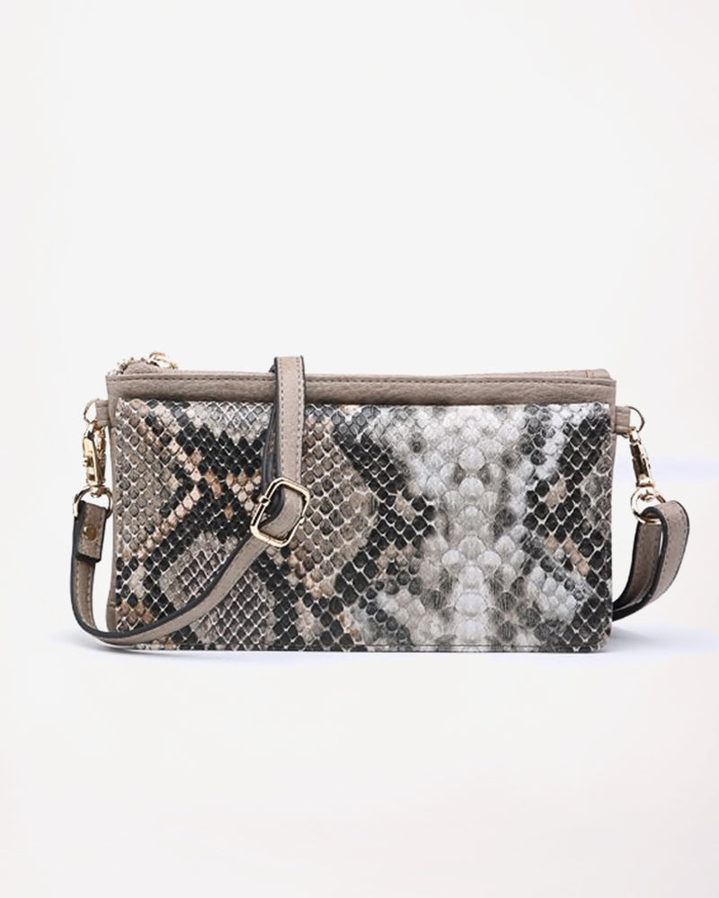 Jen & Co Taupe Stone Python Snake Faux-Leather Snakeskin Crossbody Wristlet Purse Handbag Savvy Chic Boutique Cleveland Ohio