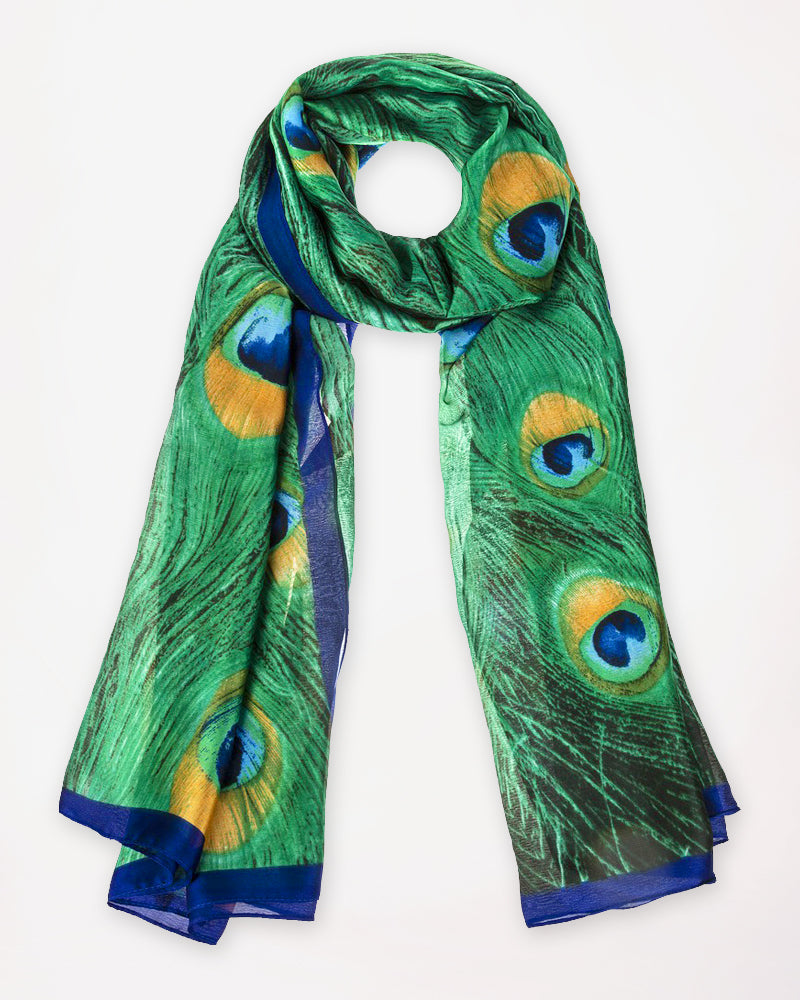 Green Blue Peacock Feather Print Silk Scarf Savvy Chic Boutique Cleveland Ohio