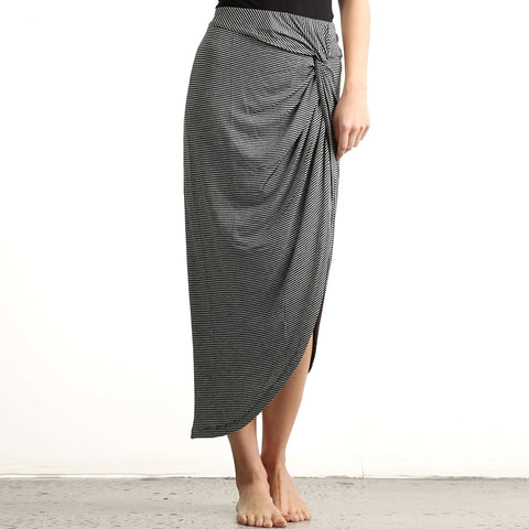 Mystree Black Grey Stripe Twist Knot Midi Skirt Savvy Chic Boutique Ohio