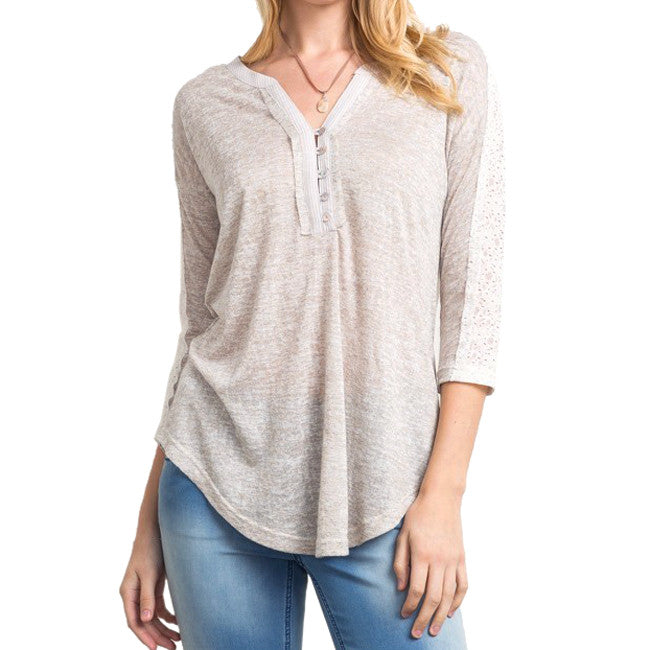 Lace Button Down Raglan Top