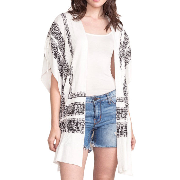 Mystree Ivory Black Print Cinched Shoulder Shawl Cardigan