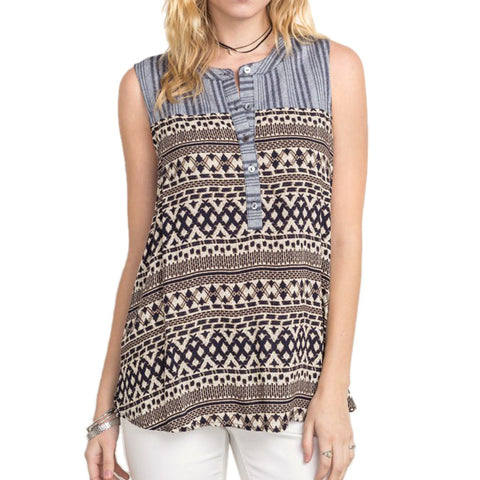 Mystree Sleeveless Button Down Printed Top