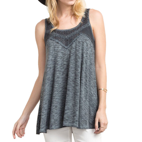 Mystree Grey Lace Tank Top