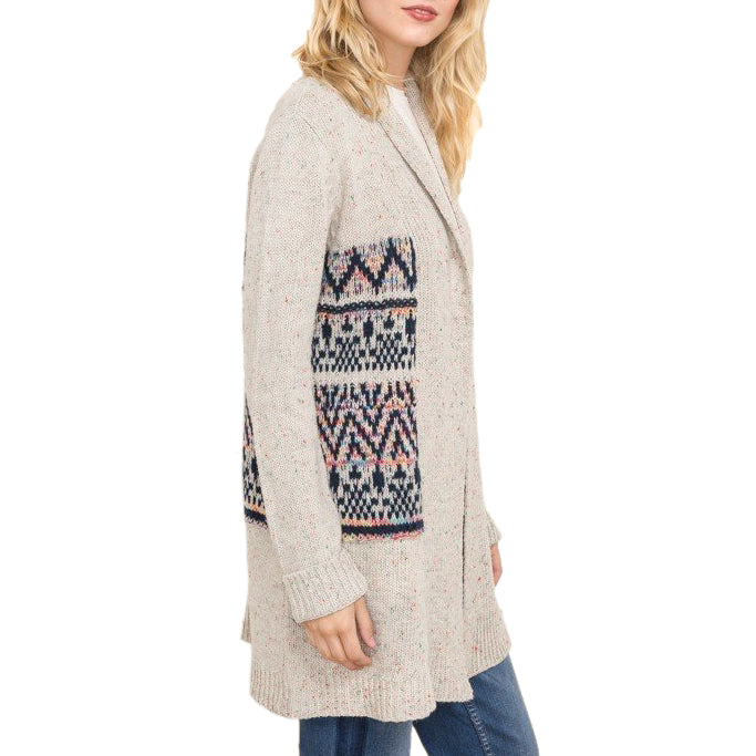 Jacquard Print Knit Sweater Cardigan