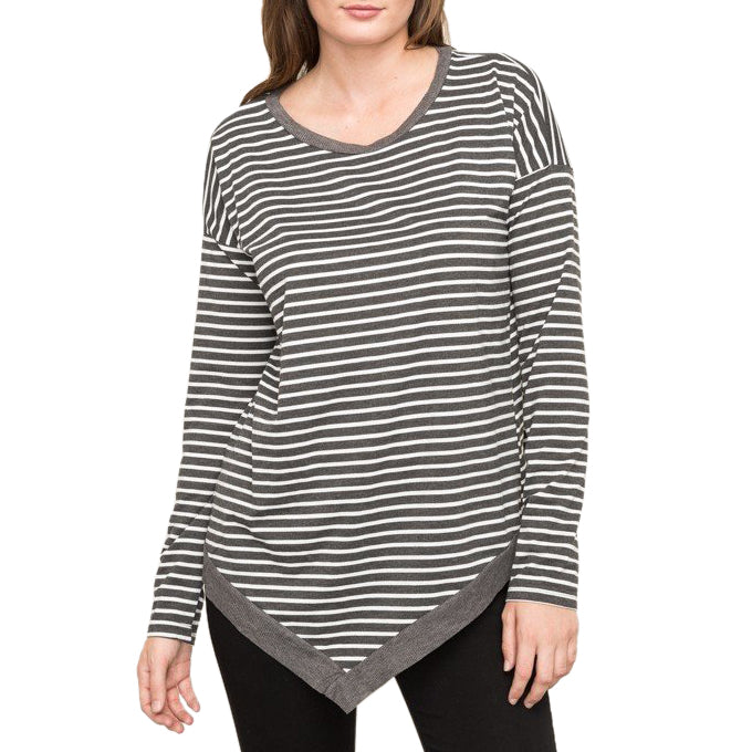 Charcoal Stripe Print Asymmetric Hem Long Sleeve Top