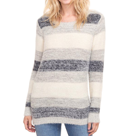 Mystree Striped Grey Ivory Mohair Sweater