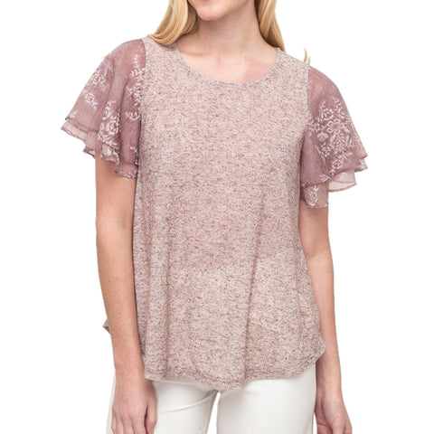 Mystree Mauve Layered Lace Short Sleeve Tee Shirt Top