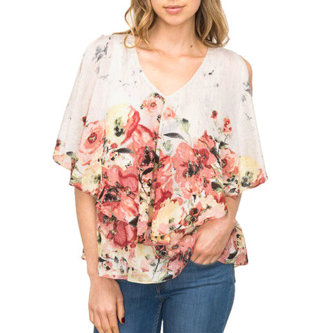 Mystree Floral Print Short Sleeve Layered Top