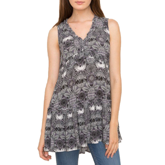 Mystree Black White Mauve Print V Neck A-Line High-Low Hem Sleeveless Top Savvy Chic Boutique Ohio