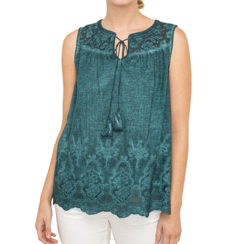 Mystree Turquoise Lace Tie Tank Top Savvy Chic Boutique Ohio