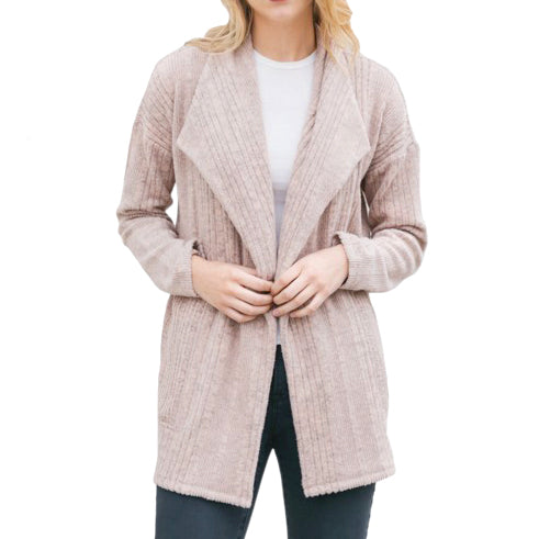 Mystree Blush Ribbed Knit Sweater Cardigan Savvy Chic Boutique Cleveland Ohio