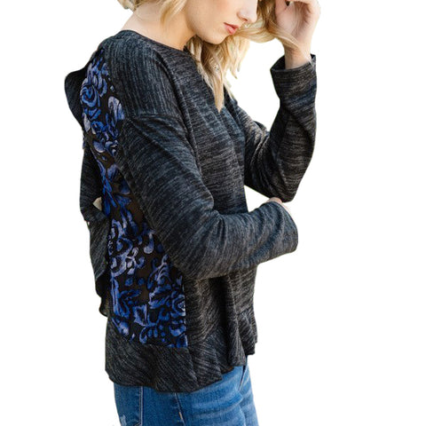 Mystree Charcoal Grey Blue Velvet Print Long Sleeve Tee Top Savvy Chic Boutique Cleveland Ohio