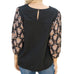 Mystree Black Print Balloon Sleeve Keyhole Cutout Top Savvy Chic Boutique Cleveland Ohio