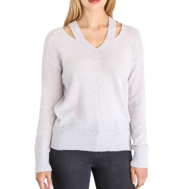 Mystree Lavender Lightweight Knit V Neck Cutout Sweater Savvy Chic Boutique Cleveland Ohio