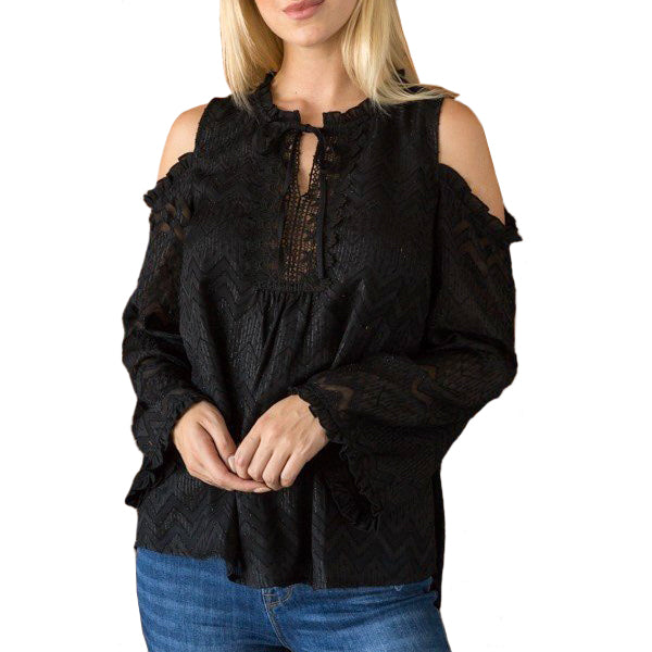 Mystree Black Chiffon Cold Shoulder Tie Front Crochet Blouse Savvy Chic Boutique Cleveland Ohio