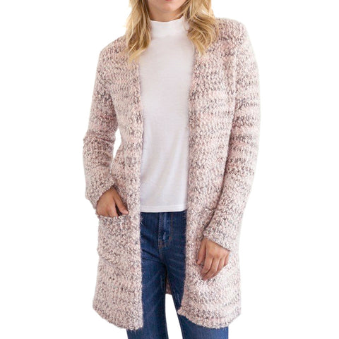 Mystree Blush Chunky Knit Boucle Open Cardigan Sweater Savvy Chic Boutique Cleveland Ohio